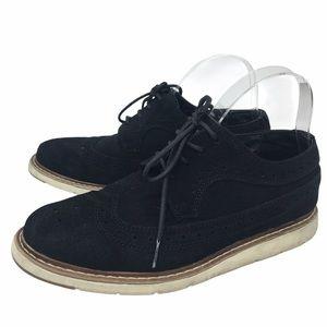 Perry Ellis Mens Black Suede Shoes Sz.7.5